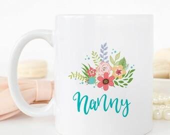 Floral Personalised Nanny Mug