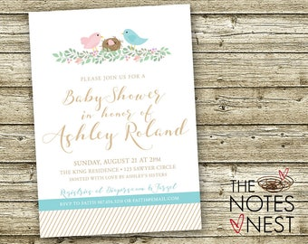 Bird's Nest Baby Shower Invitation for One, Twins or Multiples - Custom Printable