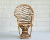 "16"" Peacock Chair for Dolls or Plants - Mini Wicker Plant Holder - Childrens Bohemian Decor"