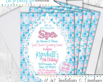 Spa  Party Invitations, 5X7 Custom Invitations by Cutie Putti Paperie