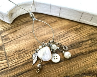 CHARM NECKLACE - guitar string necklace - silver with pearls - for teens and adults - recycled/upcycled jewelry - under 35.00