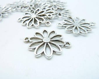 20pcs 20x24mm Antique Silver Filigree Flower  Connector daisy connector Charm C6381