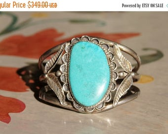 Spring SALE Southwest Native American Silver Turquoise Indian Cuff Bracelet GM