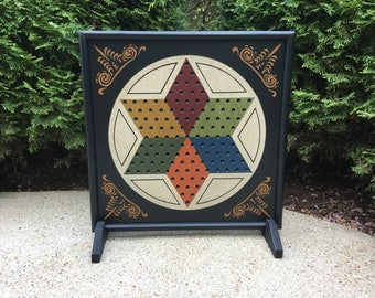 """19"""", Chinese Checkers, Game Board, Wood, Primitive, Folk Art, Game Boards, Wooden, Game, Colonial Decor, Wall Hanging, Hand Painted"""
