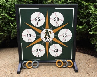 """19"""", A's, Ring Toss, Game Board, Wood, Primitive, Folk Art, Wooden, Carnival Game, Oakland A's, Baseball"""