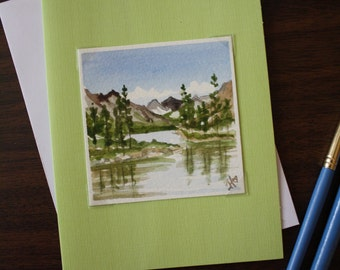 Miniature 3x3 Original Watercolor Note Card Scenic Mountains