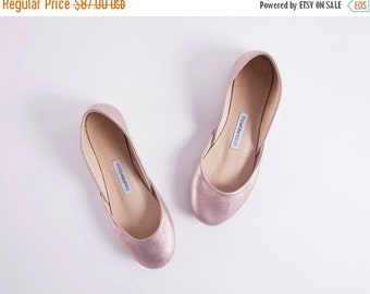 Winter Sale Lavender Gold Ballet Flats | Handmade Gold Leather Ballerina Pumps | Leather Shoes | Lavender Gold ... Ready to Ship!