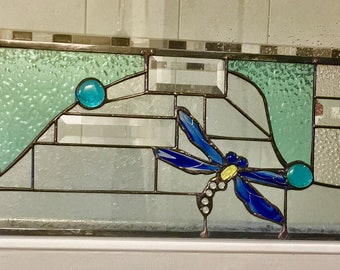 Stained Glass Dragonflys Transom