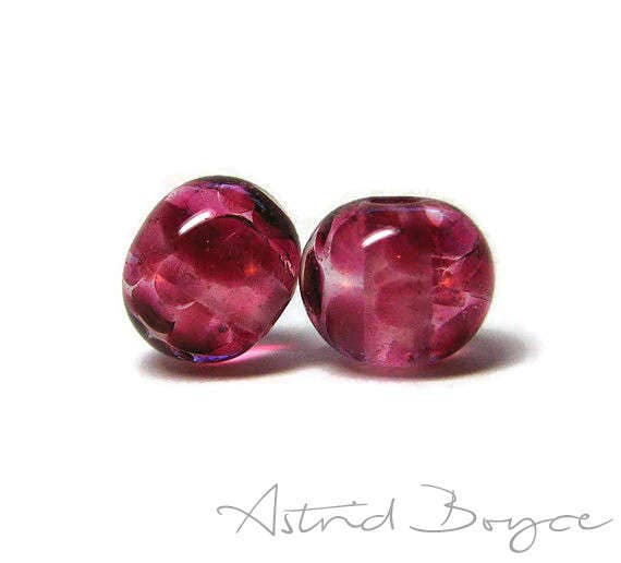 Summer Pink Yarrow Artisan Glass Bead Pair - Vivid Pink Art Glass Beads  -  Pantone Pink Yarrow for 2017 and perfect for Crafting with Fiber