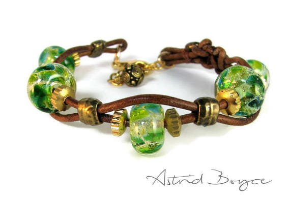 Greenery Gears Layering Stacking Bracelet with Bali Charm -Handcrafted Lampwork Beaded Bracelet with Leather and Pewter-Boho bracelet-rustic