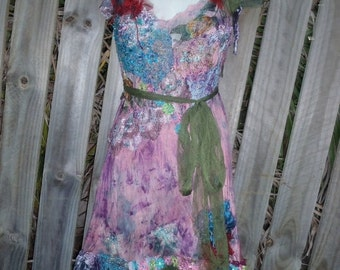 "20%OFFplusREFUND SHIPPING bohemian gypsy lagenlook hippy shabby dress ...smaller to 36"" bust"