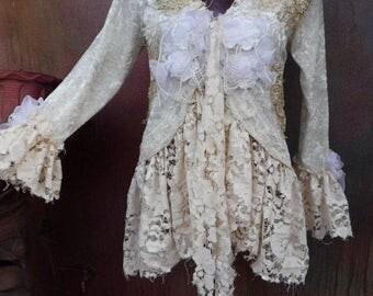 20%OFF bohemian jacket, velvet jacket, wildskin, velvet and lace, stevie nicks, gypsy, romantic, tattered, shabby, ivory jacket, wedding, 6