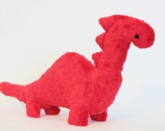 Stuffed Dinosaur Toy - Red Minky Plush Dinosaur - Baby Shower Gift - Nursery Decor - Stuffed Animal - Dino Toy - Valentines Day Gift