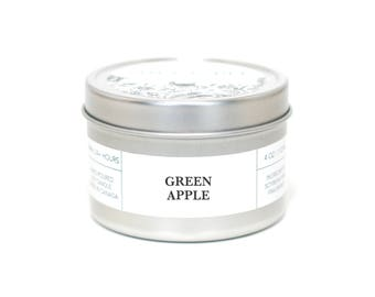 GREEN APPLE - Travel Candle, Tin Candle, Soy Candle, Vegan, Natural Home Fragrance
