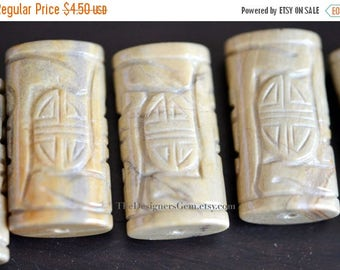 SALE Large Natural Tan Cream and Gray Colored Carved Jasper Pendants 38 x 20 x 12mm - 1 Pendant
