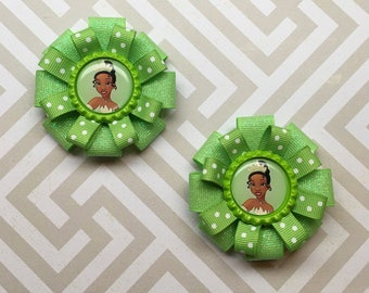 Tiana Pigtail Hair Bow Set    Princess and the Frog Hair Bow    Tiana Birthday Party    Tiana Costume    Tiana Princess and the Frog