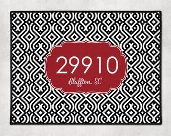 zip code door mat custom welcome mat your city door mat custom doormat gift for