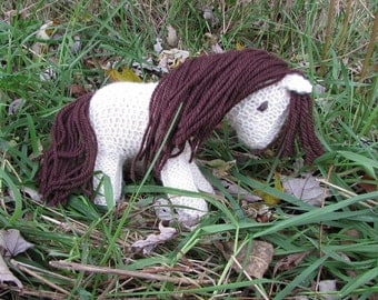 Horse, Pony Knit Wool Toy - white and brown natural waldorf stuffed animal