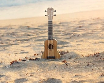 Ukulele Photography, Beach Photography Print, Beach Print, Ocean Photography, Ukulele Art Print, Beach Scene, Beach Decor Instrument Art