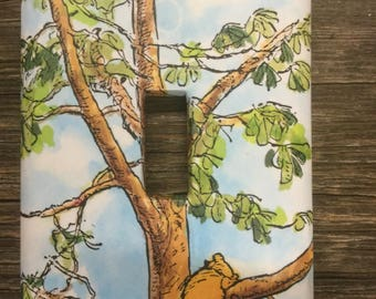 Winnie the Pooh Upcycled /Recycled Light Switch Plate