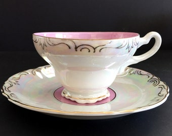 Iridescent Teacup and Saucer, Pearlized Tea Cup, Unmarked Japanese Tea 13874