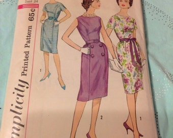 "Vintage Simplicity 3874 Party Dress Sewing Pattern 34"" Bust"