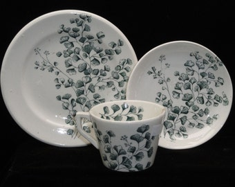 Antique English Staffordshire Child's Tea Set -Stokes on Treny Pottery - Esperesso Coffee Set