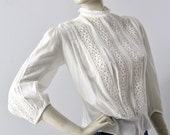 RESERVE 1900s blouse, antique white cotton top with floral embroidery