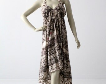 1970s halter dress,  boho print sundress