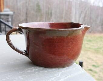 Pottery Batter Bowl Rusty Red Glaze NC Pottery