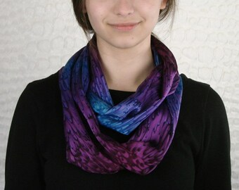Individually Hand Dyed Purple/Blue Silk Infinity Scarf