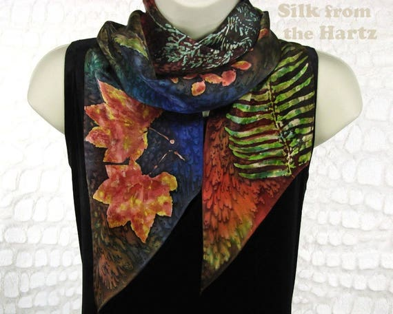 Botanical Hand Dyed Long Silk Scarf for Autumn