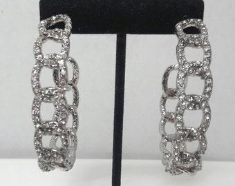 Vintage Silver Crystal Hoop Earrings