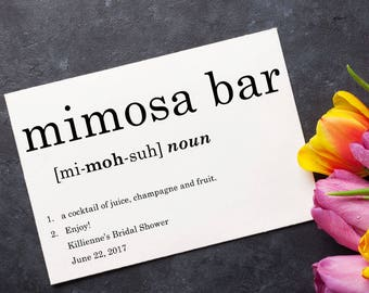 Mimosa Bar Sign, Bridal Shower Decoration, Mother's Day Decor, Brunch Bar Signage, Dictionary, Typography - Size 5 x 7, Printed Sign, DFN