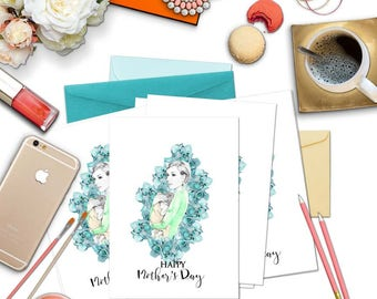Young Mothers Greeting Card, Mothers Day Card, Pregnancy Planner Folder Printable Card Fashion Illustration Baby