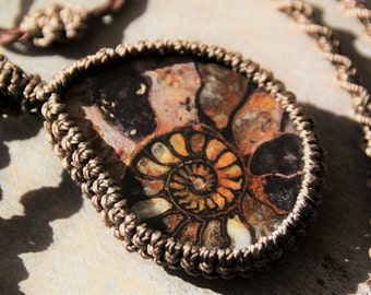 Ammonite Fossil Pendant / Adjustable Macramé Necklace / Stone Pendant  Unisex Gift