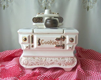 Vintage McCoy Stove Cookie Jar White Pottery Wood Burning Stove Gold Accent Cottage Chic Decor 1960s
