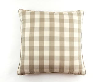 Schumacher Camden Check Pillows with Self Welting (Shown in Beige-comes in 12 colors)