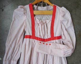 Vtg 70's White Red Swiss Flocked Dot Handmade Peasant Gunne Sax Prairie Folk Dress Cotton Ruffle Size Small to XS