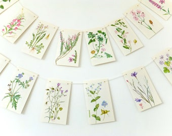 Pink Flowers Bunting. Summer Decoration. Blue flower. Paper Garland. Botanical Wedding Banner. Afternoon Tea Party, Bridal shower