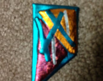 Geometric Sculpy Lapel Pin Multi Colored Gold Silver Turquoise and Magenta Metallic Shapes
