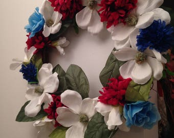 Red White and Blue Silk Florals Patriotic Wreath Memorial Day Presidents Day July 4 Magnolia Carnation Roses Mums Indoor or Outdoor Wreath