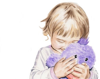 Little girl with a purple duck. Illustration. Watercolor painting. Square art print.