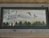 Mated for life Canadian Geese watercolor painting in Autumn (Framed) 8x16