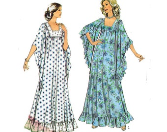 """UNCUT Maxi Dress Sewing Pattern Square Neckline Long Flowing Sleeves 70s Vintage Boho Size 12 Bust 34"""" (87 cm)  Style 4636 G"""