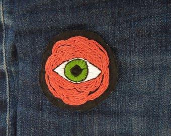 Coral Flower Patch Eyeball Patch Strange Eye Accessory Sew On Flower Patch Evil Eye