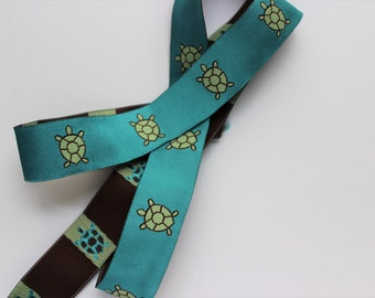 Woven jacquard ribbon turtle green blue preppy trim