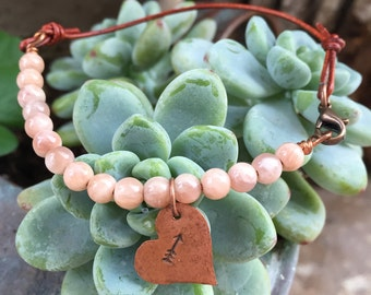 copper metal heart arrow charm sunstone leather cord stackable bracelet jewelry hand stamped mixed media bracelet jewelry valentines gift
