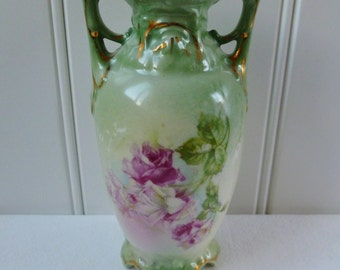 Vase, Pink Roses, Green, Gold, Small. Vintage Antique 1900. Bud Vase. Cottage, Victorian, Shabby Chic, Summer Decor.
