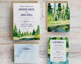 rustic wedding invitation, lake wedding invitation, mountain wedding invitation, lodge wedding, trees invitation, trees save the date
